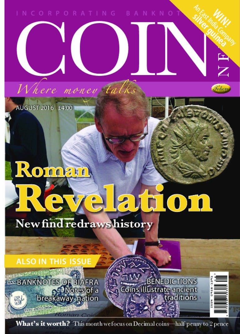 Front cover of 'Roman Revelation', Coin News August 2016, Volume 53, Number 8 by Token Publishing