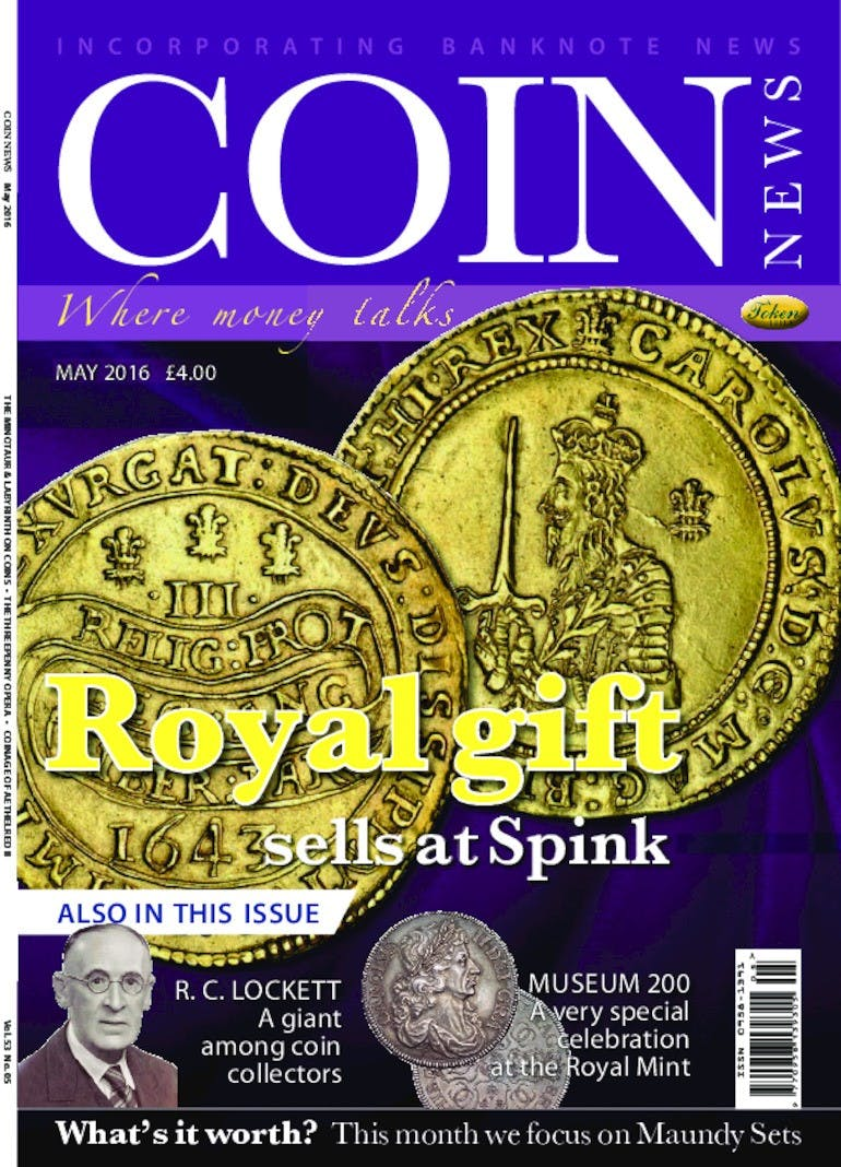 Front cover of 'Royal gift sells at Spink', Coin News May 2016, Volume 53, Number 5 by Token Publishing