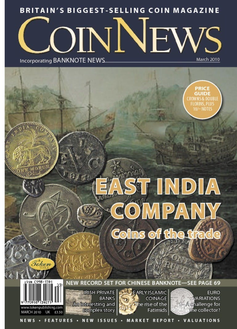 Front cover of 'East India Company', Coin News March 2010, Volume 47, Number 3 by Token Publishing