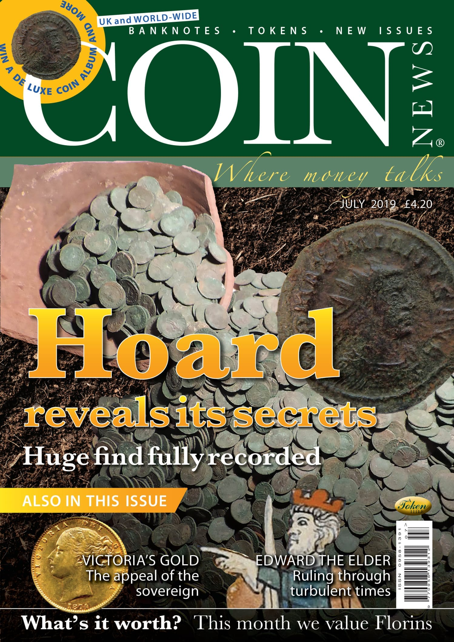 Front cover of 'Hoard reveals its secrets', Coin News July 2019, Volume 56, Number 7 by Token Publishing
