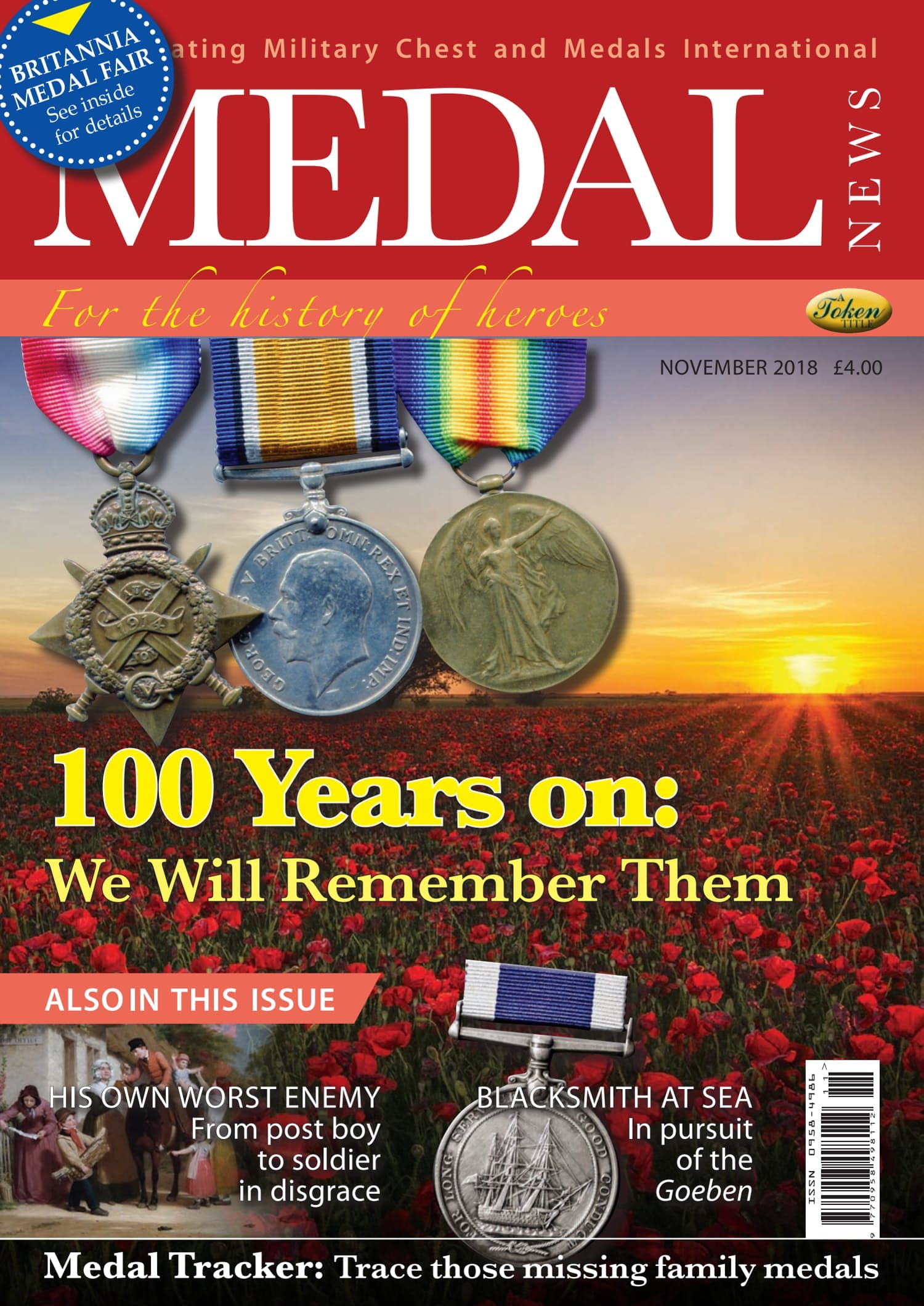 Front cover of '100 Years on: We Will Remember Them', Medal News November 2018, Volume 56, Number 10 by Token Publishing