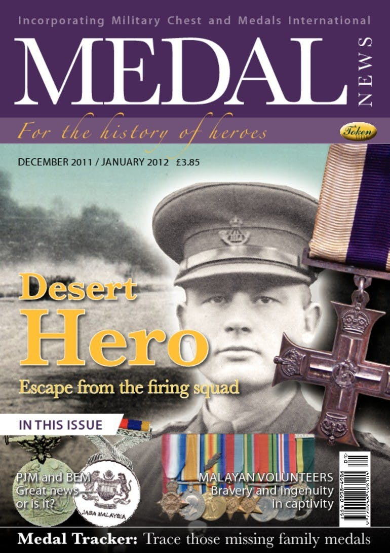 Front cover of 'Desert Hero', Medal News January 2012, Volume 50, Number 1 by Token Publishing