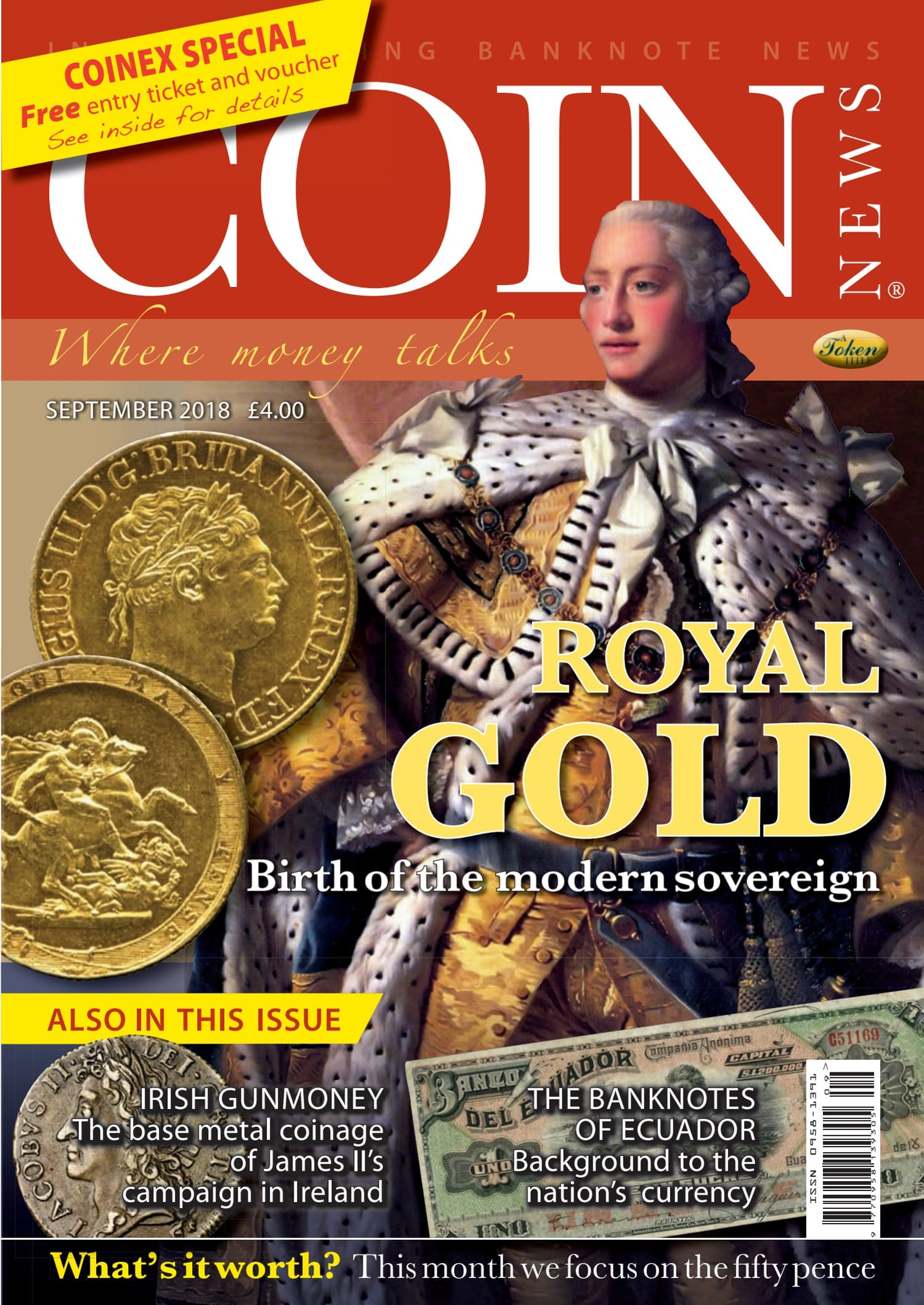 Front cover of 'Royal Gold', Coin News September 2018, Volume 55, Number 9 by Token Publishing