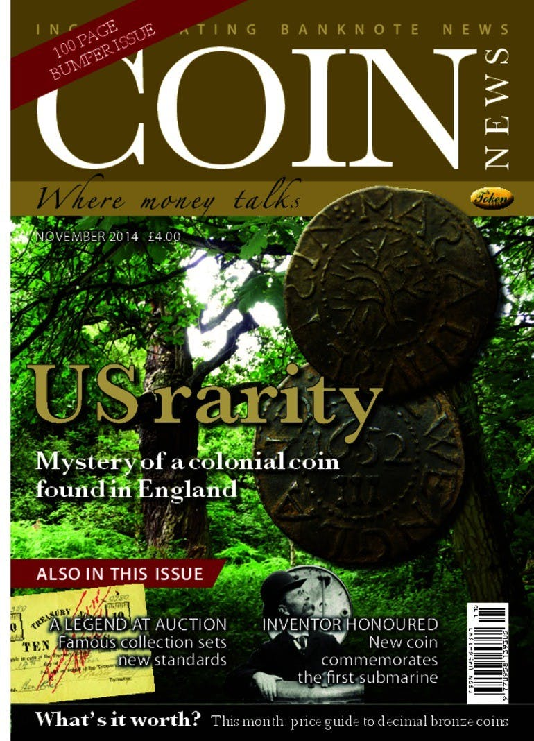 Front cover of 'US Rarity', Coin News November 2014, Volume 51, Number 11 by Token Publishing