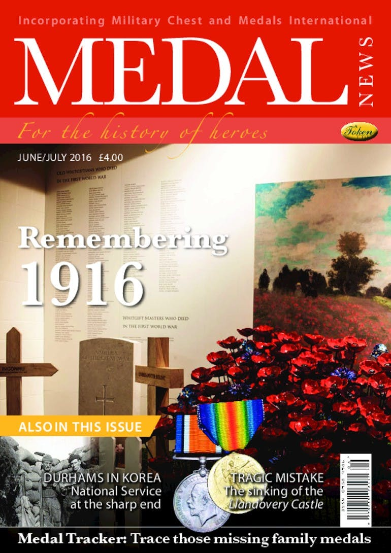 Front cover of 'Remembering 1916', Medal News June 2016, Volume 54, Number 6 by Token Publishing