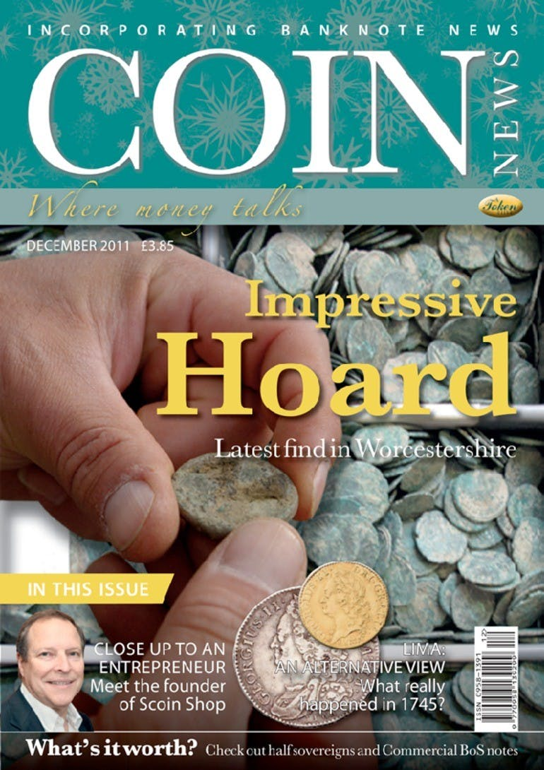 Front cover of 'Impressive Hoard', Coin News December 2011, Volume 48, Number 12 by Token Publishing
