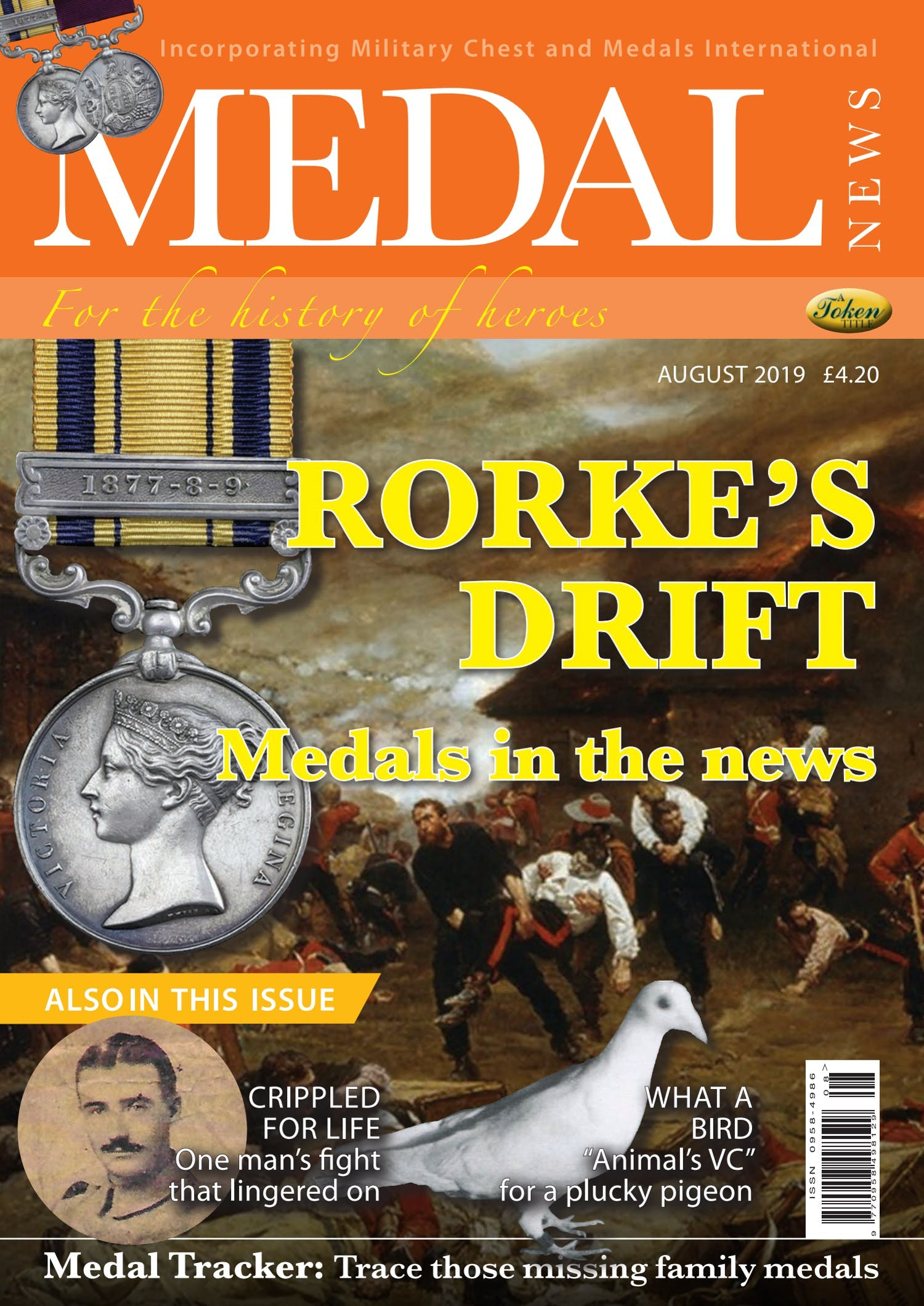 Front cover of 'Rorke's Drift medals on sale', Medal News August 2019, Volume 57, Number 7 by Token Publishing