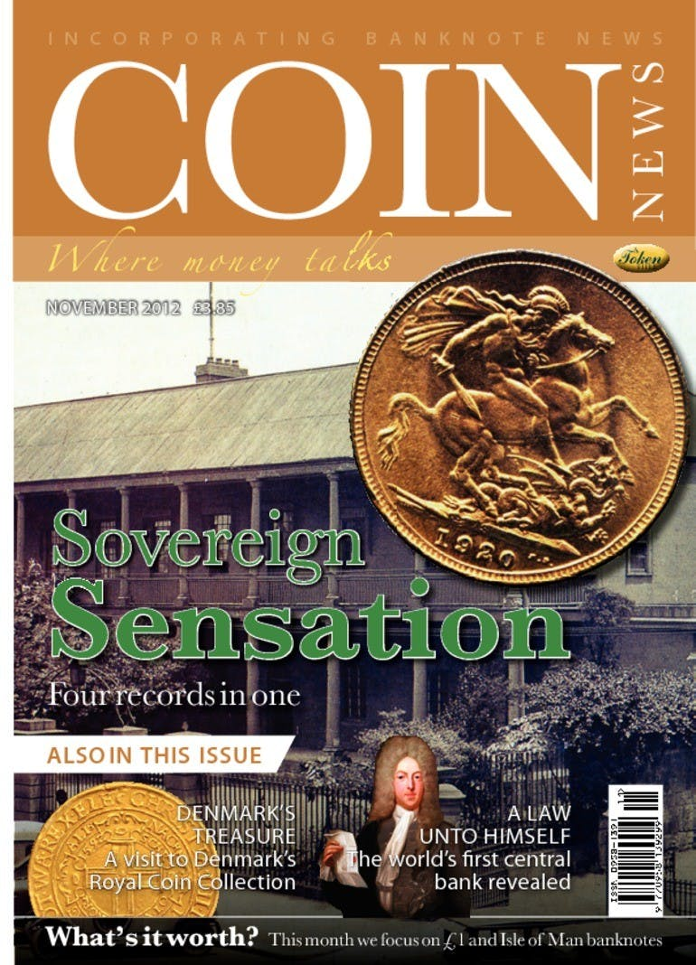 Front cover of 'Sovereign sensation', Coin News November 2012, Volume 49, Number 11 by Token Publishing
