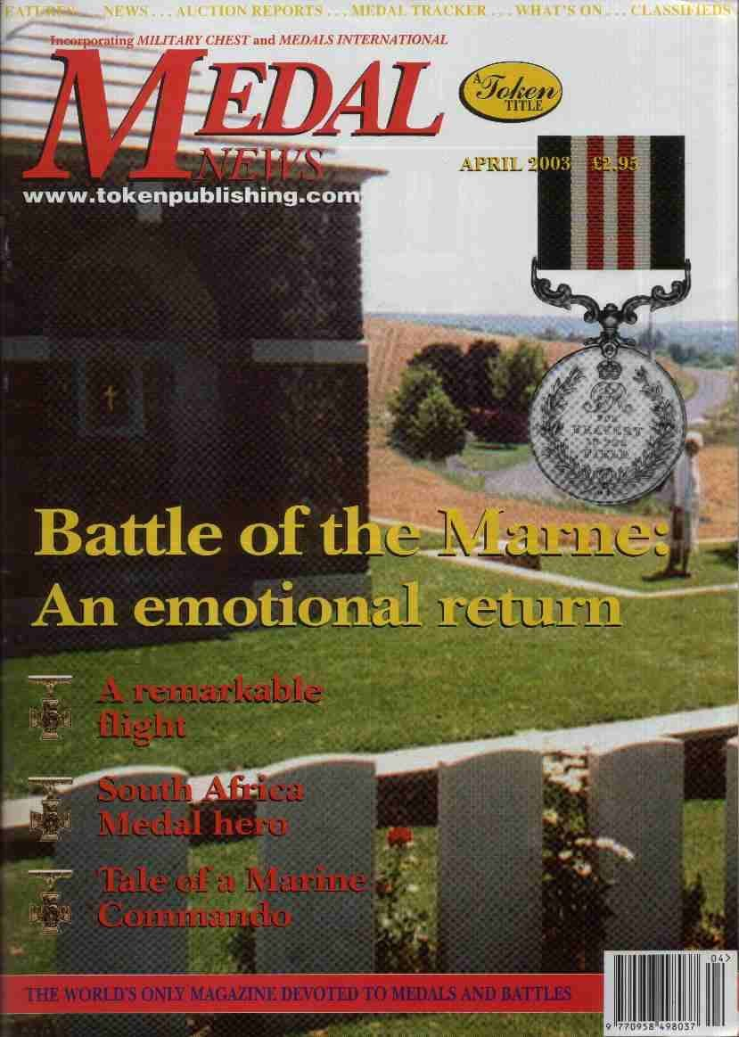 Front cover of 'Happy Birthday to us!', Medal News April 2003, Volume 41, Number 4 by Token Publishing