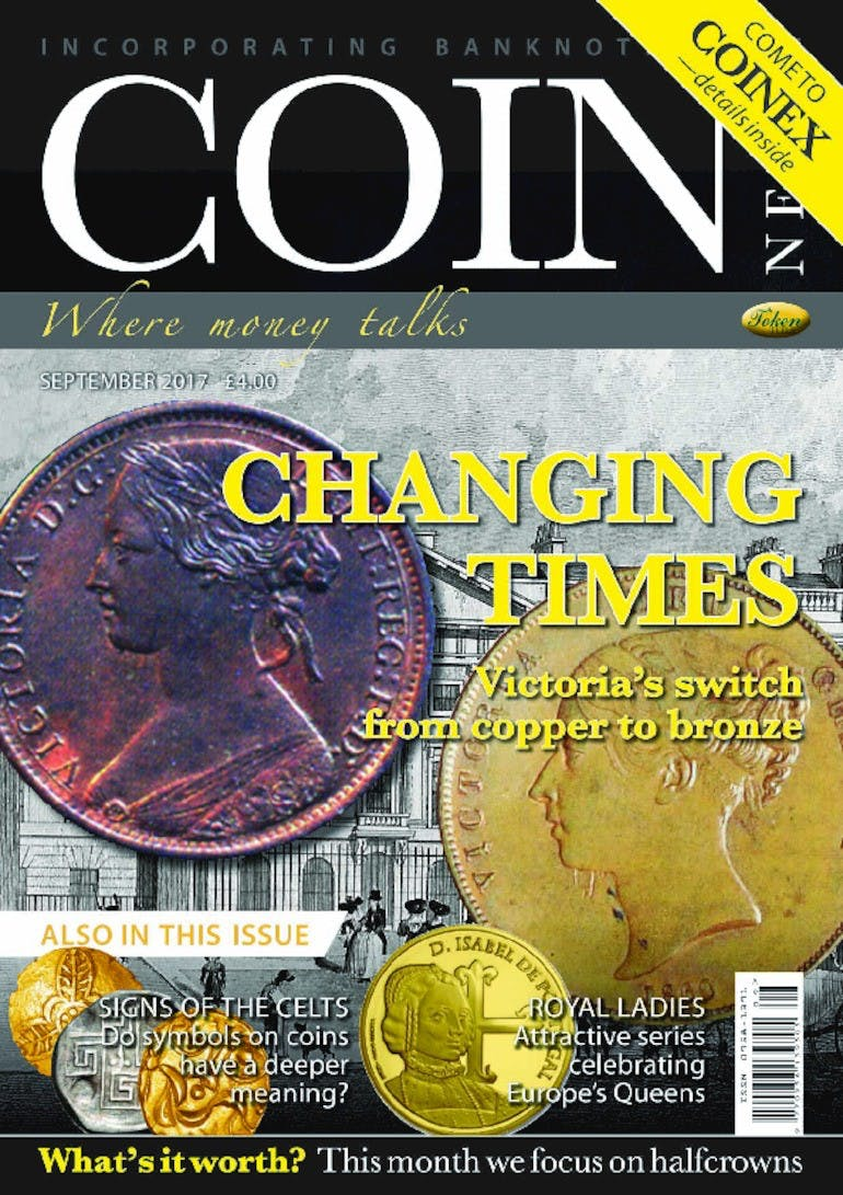 Front cover of 'Changing times', Coin News September 2017, Volume 54, Number 9 by Token Publishing