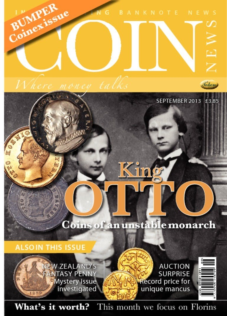 Front cover of 'King Otto', Coin News September 2013, Volume 50, Number 9 by Token Publishing