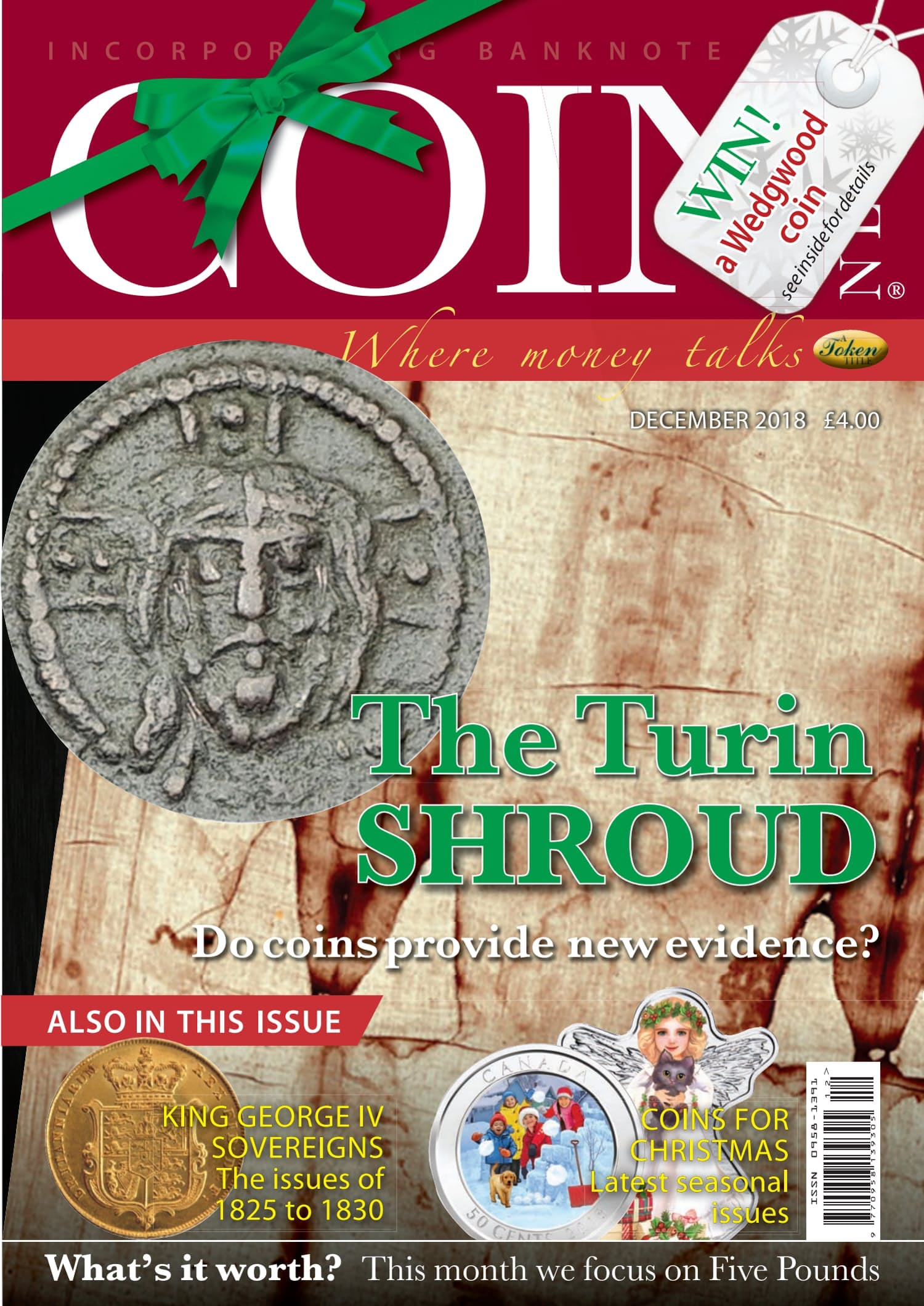 Front cover of 'The Turin Shroud', Coin News December 2018, Volume 55, Number 12 by Token Publishing