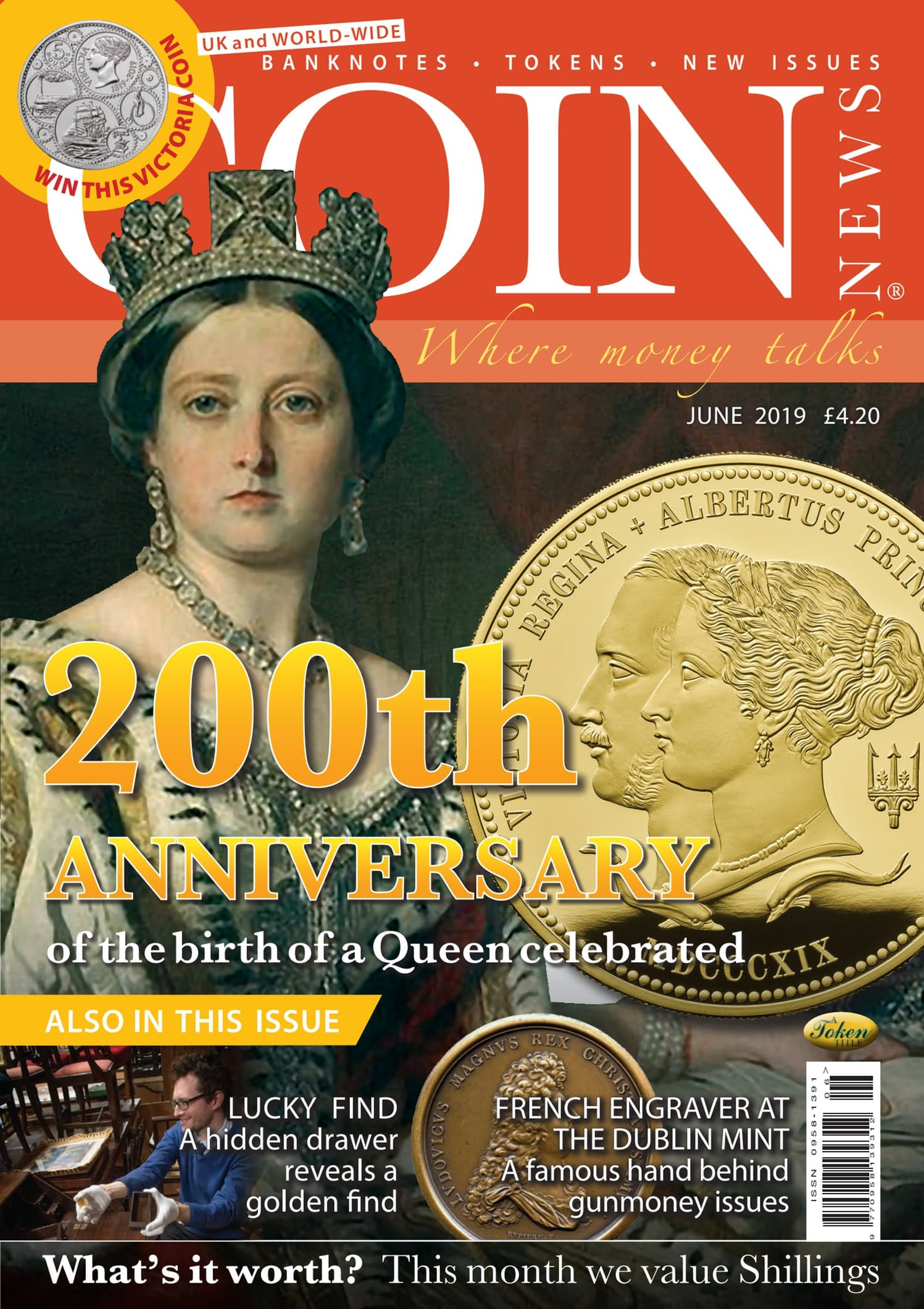 Front cover of '200th Anniversary', Coin News June 2019, Volume 56, Number 6 by Token Publishing