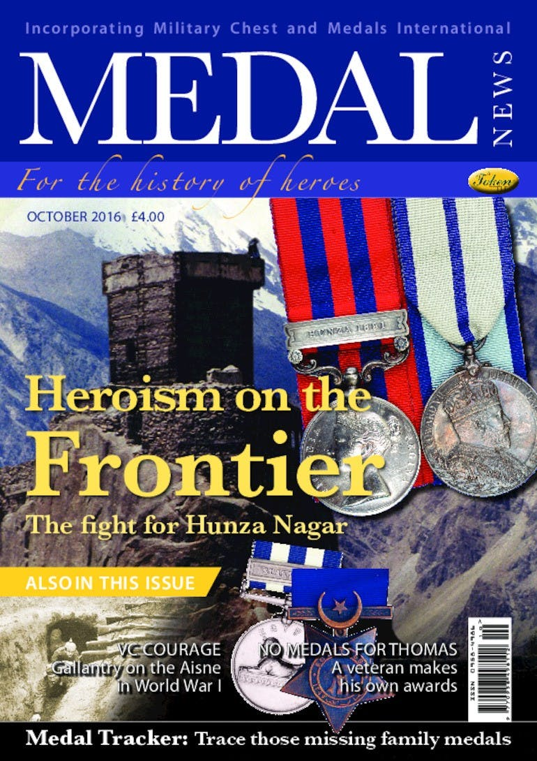 Front cover of 'Heroism on the Frontier', Medal News October 2016, Volume 54, Number 9 by Token Publishing