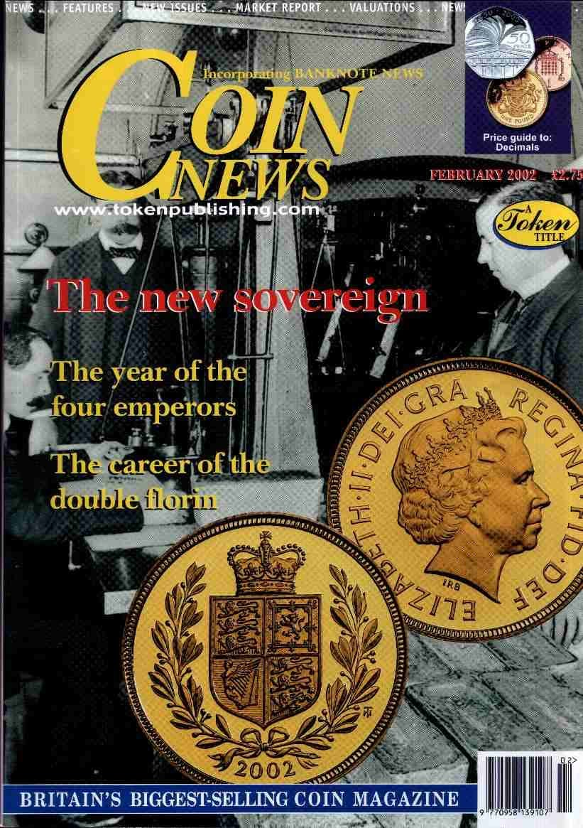 Front cover of 'Marking the Jubilee', Coin News February 2002, Volume 39, Number 2 by Token Publishing
