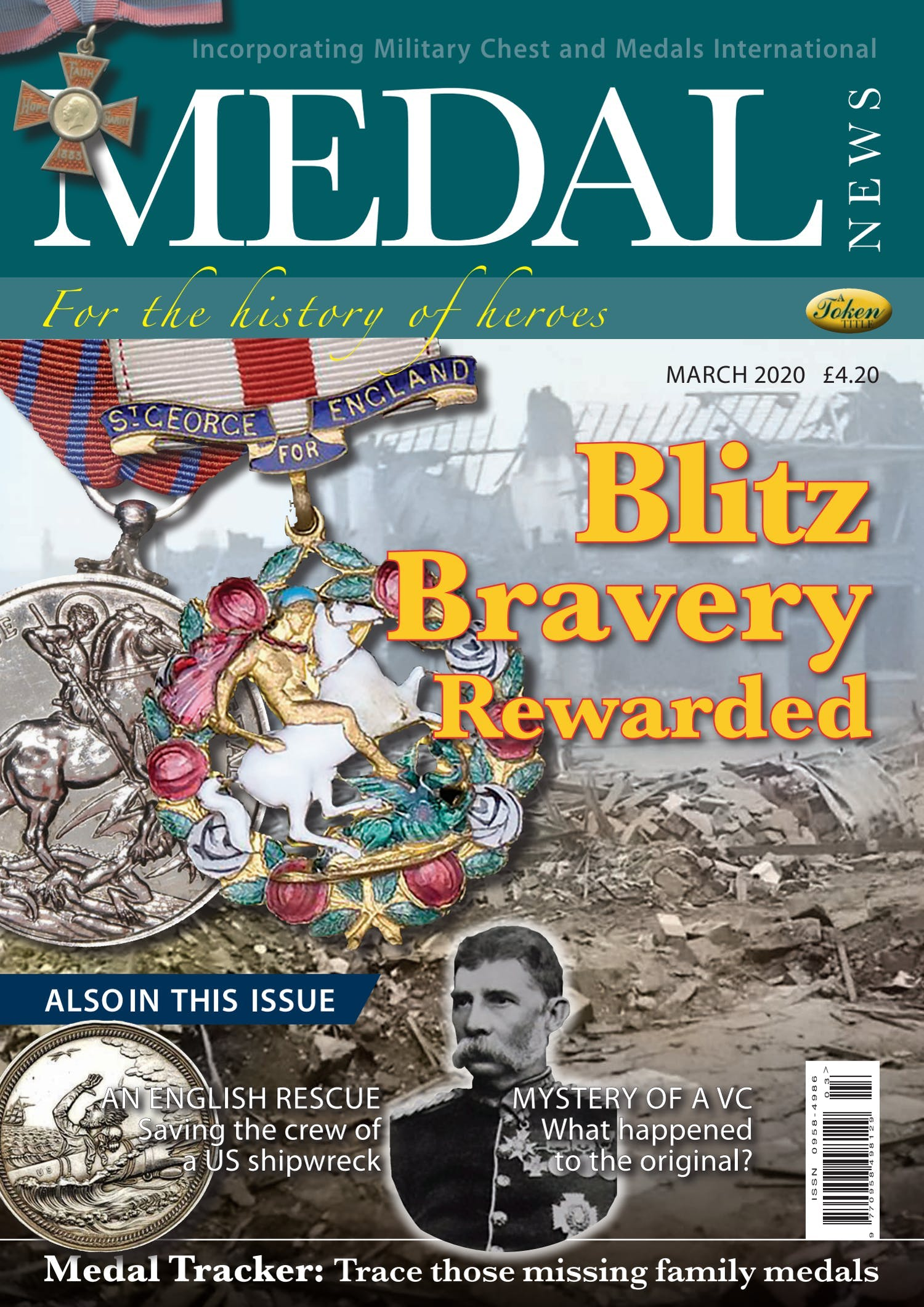 Front cover of 'Blitz Bravery', Medal News March 2020, Volume 58, Number 3 by Token Publishing