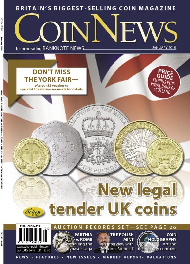 Front cover of 'New legal tender UK coins', Coin News January 2010, Volume 47, Number 1 by Token Publishing