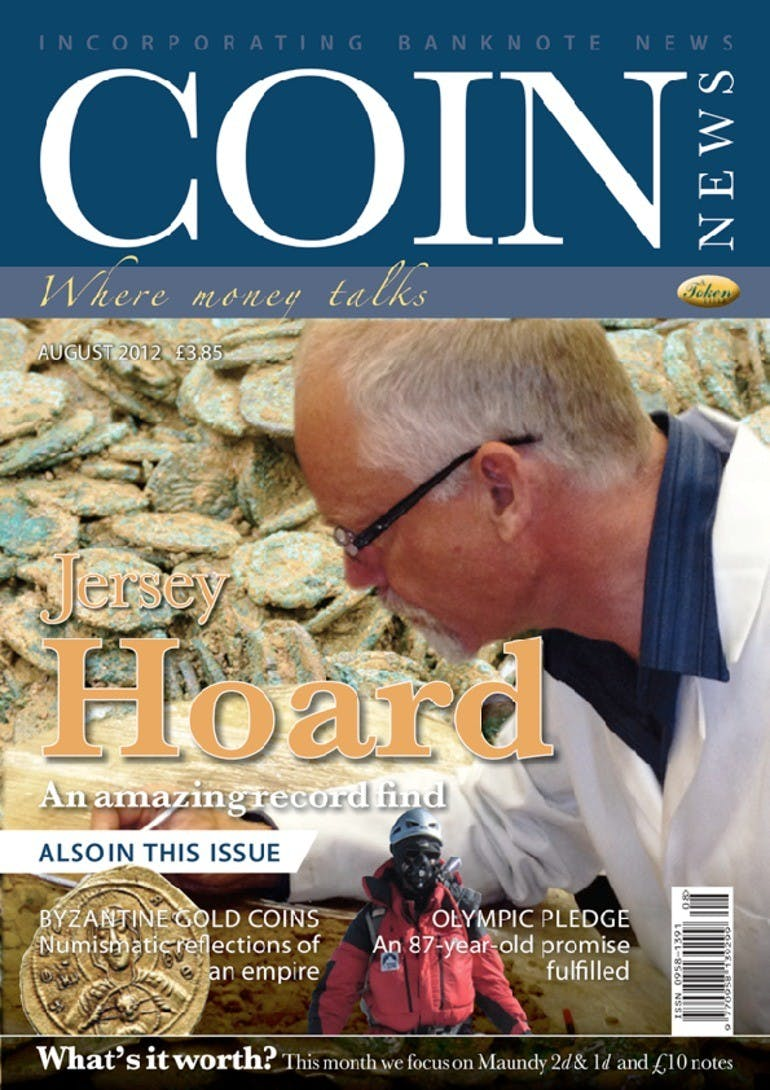 Front cover of 'Jersey Hoard', Coin News August 2012, Volume 49, Number 8 by Token Publishing