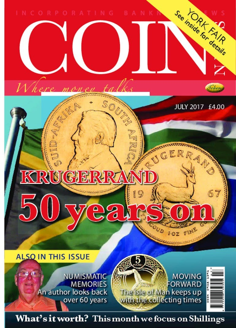 Front cover of 'Krugerland 50 years on', Coin News July 2017, Volume 54, Number 7 by Token Publishing