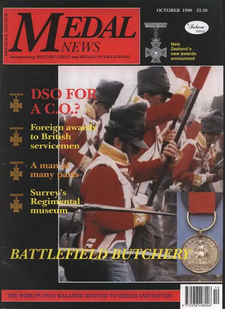 Front cover of 'From the Editor's desk', Medal News October 1998, Volume 36, Number 9 by Token Publishing