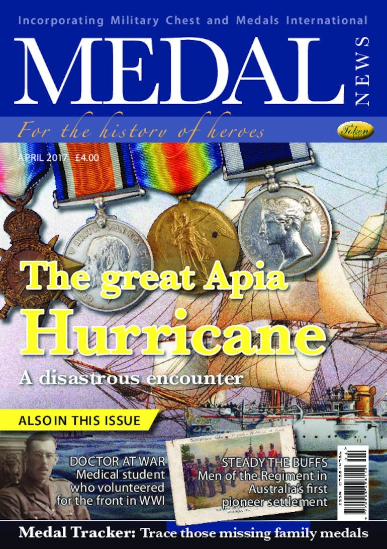Front cover of 'The great Apia Hurricane', Medal News April 2017, Volume 55, Number 4 by Token Publishing