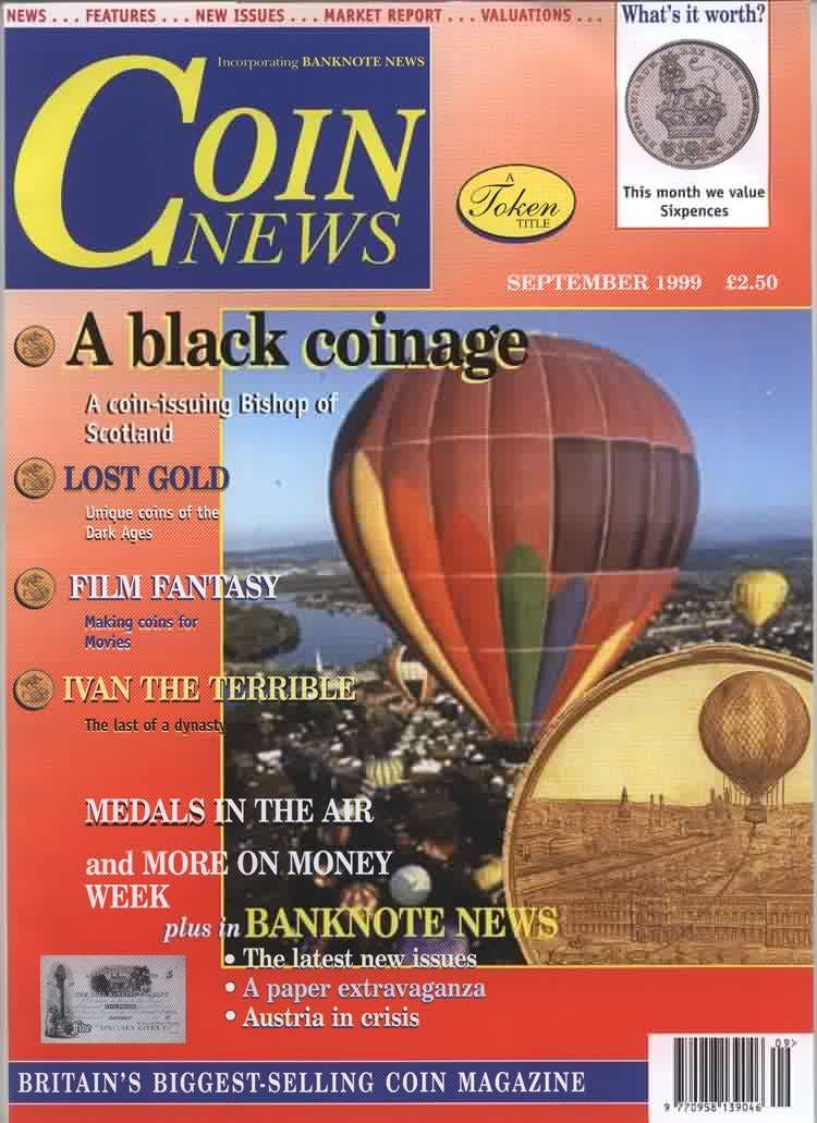 Front cover of 'A busy autumn ahead', Coin News September 1999, Volume 36, Number 9 by Token Publishing
