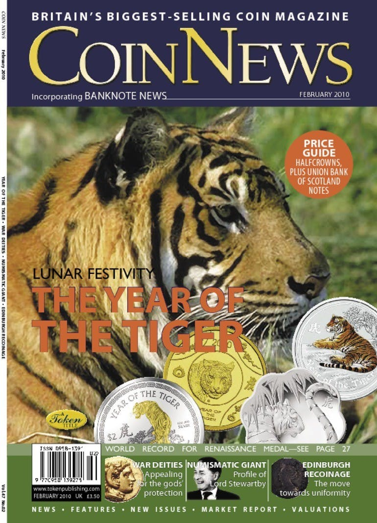 Front cover of 'The Year of the Tiger', Coin News February 2010, Volume 47, Number 2 by Token Publishing
