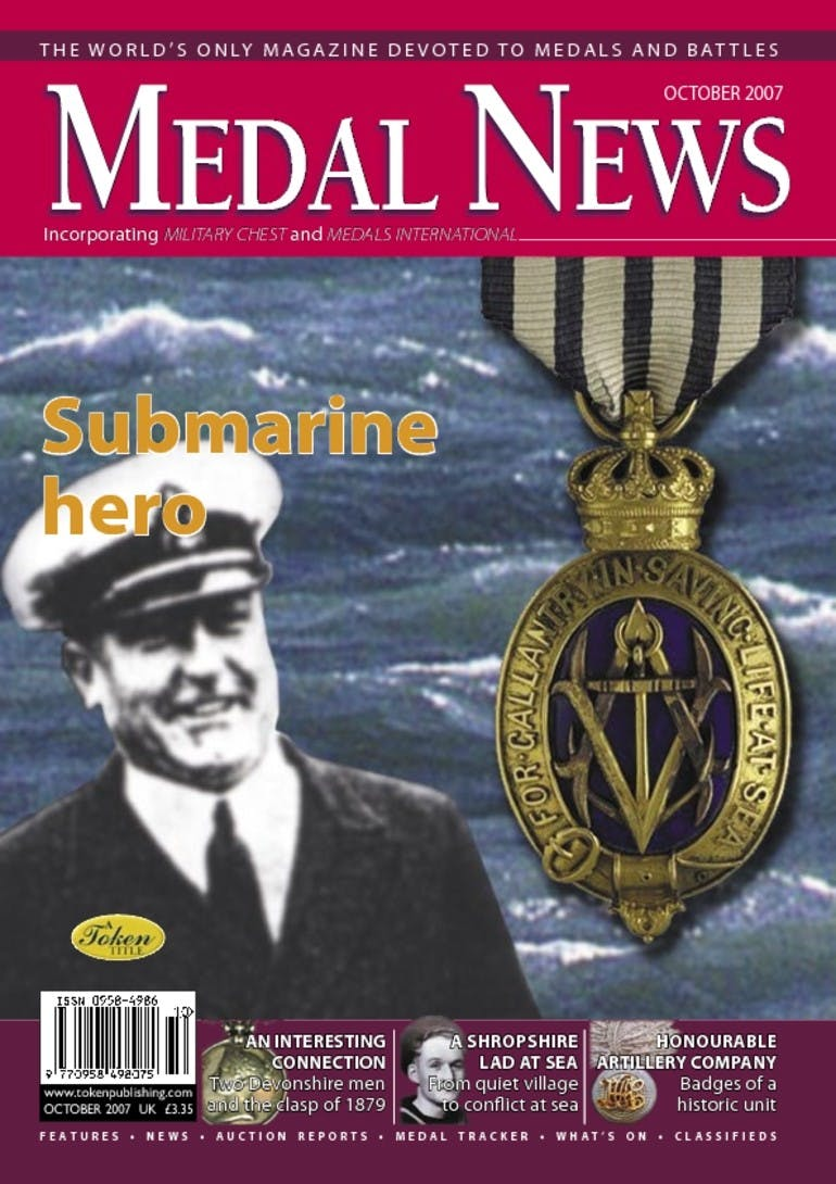 Front cover of 'Submarine hero', Medal News October 2007, Volume 45, Number 9 by Token Publishing