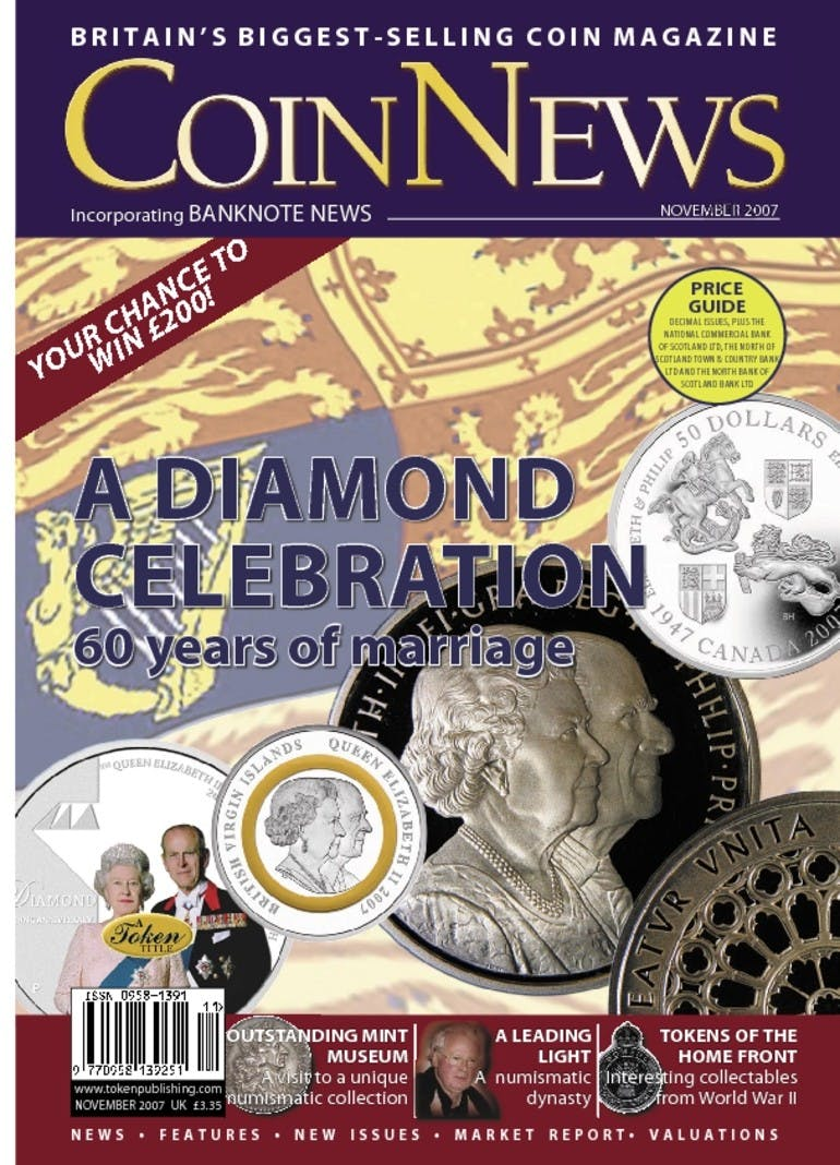 Front cover of 'A diamond celebration', Coin News November 2007, Volume 44, Number 11 by Token Publishing