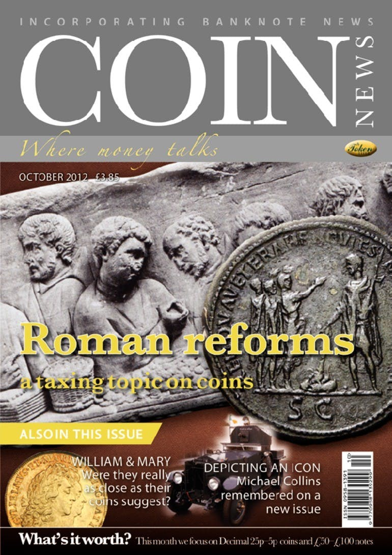 Front cover of 'Roman reforms', Coin News October 2012, Volume 49, Number 10 by Token Publishing