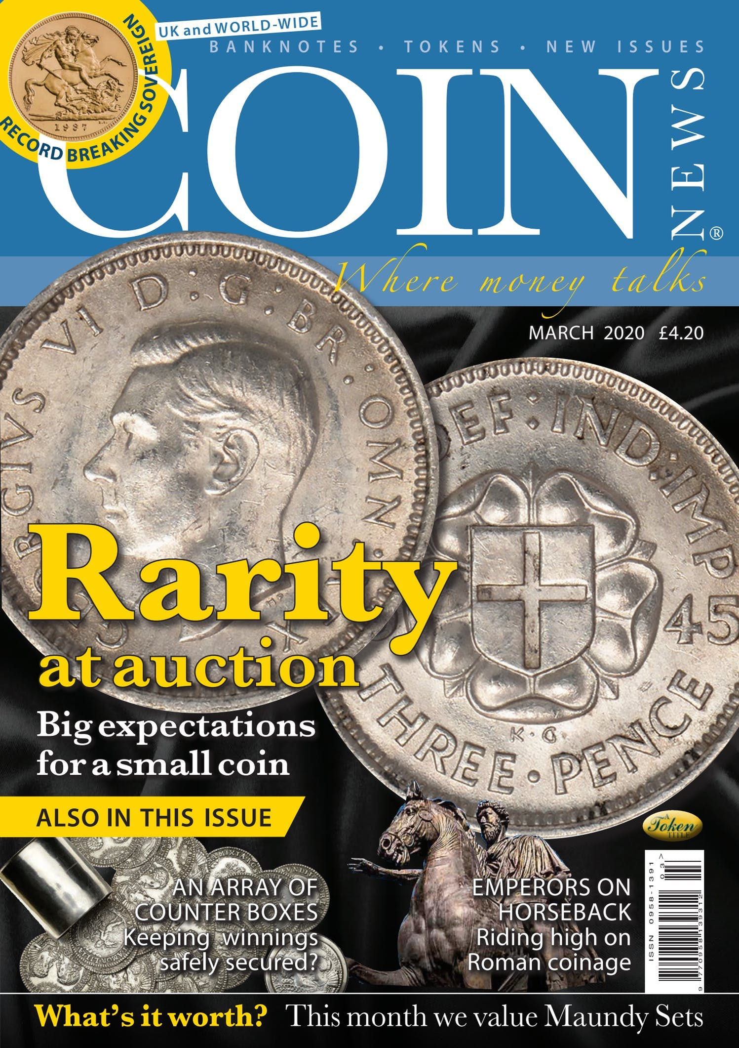 Front cover of 'Rarity at auction', Coin News March 2020, Volume 57, Number 3 by Token Publishing