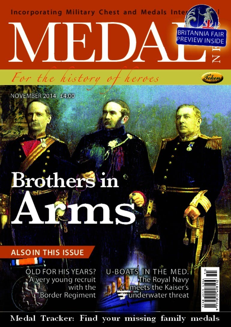 Front cover of 'Brother in Arms', Medal News November 2014, Volume 52, Number 10 by Token Publishing