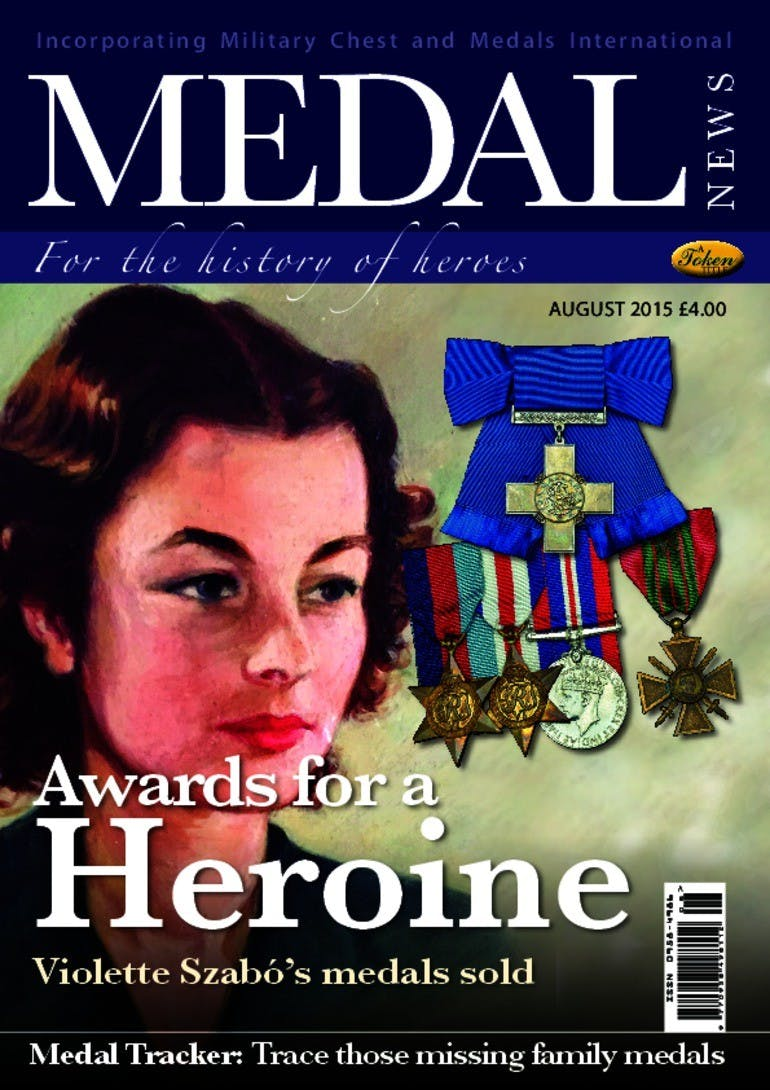 Front cover of 'Awards for a Heroine', Medal News August 2015, Volume 53, Number 7 by Token Publishing