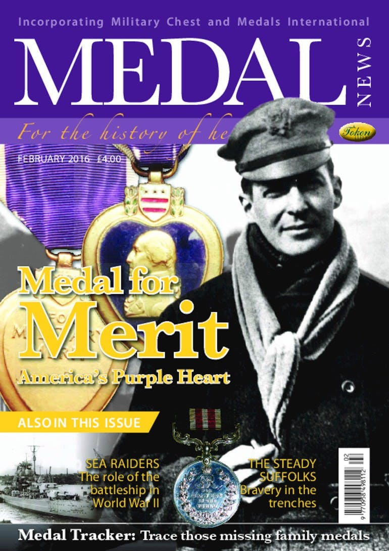 Front cover of 'Medal of Merit', Medal News February 2016, Volume 54, Number 2 by Token Publishing