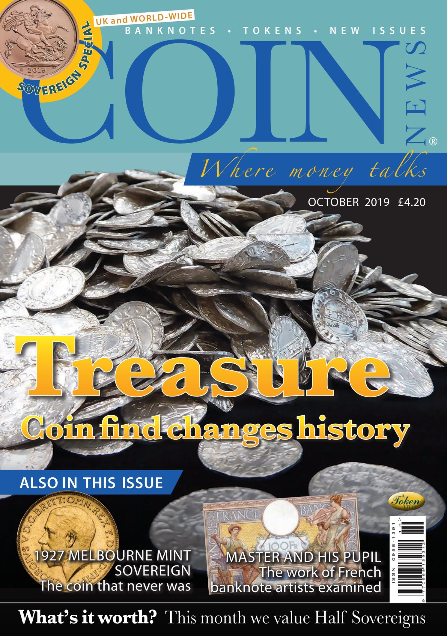 Front cover of 'Treasure', Coin News October 2019, Volume 56, Number 10 by Token Publishing