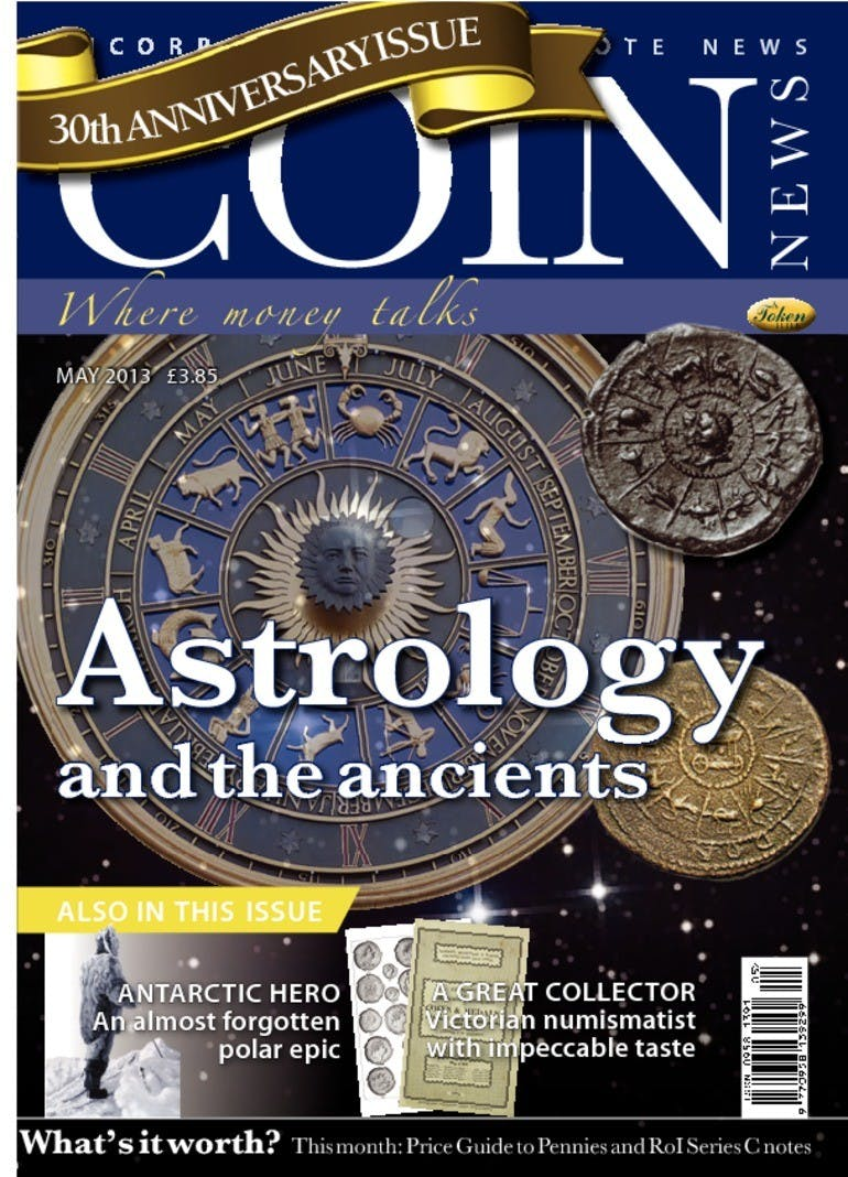 Front cover of 'Astrology and the ancients', Coin News May 2013, Volume 50, Number 5 by Token Publishing