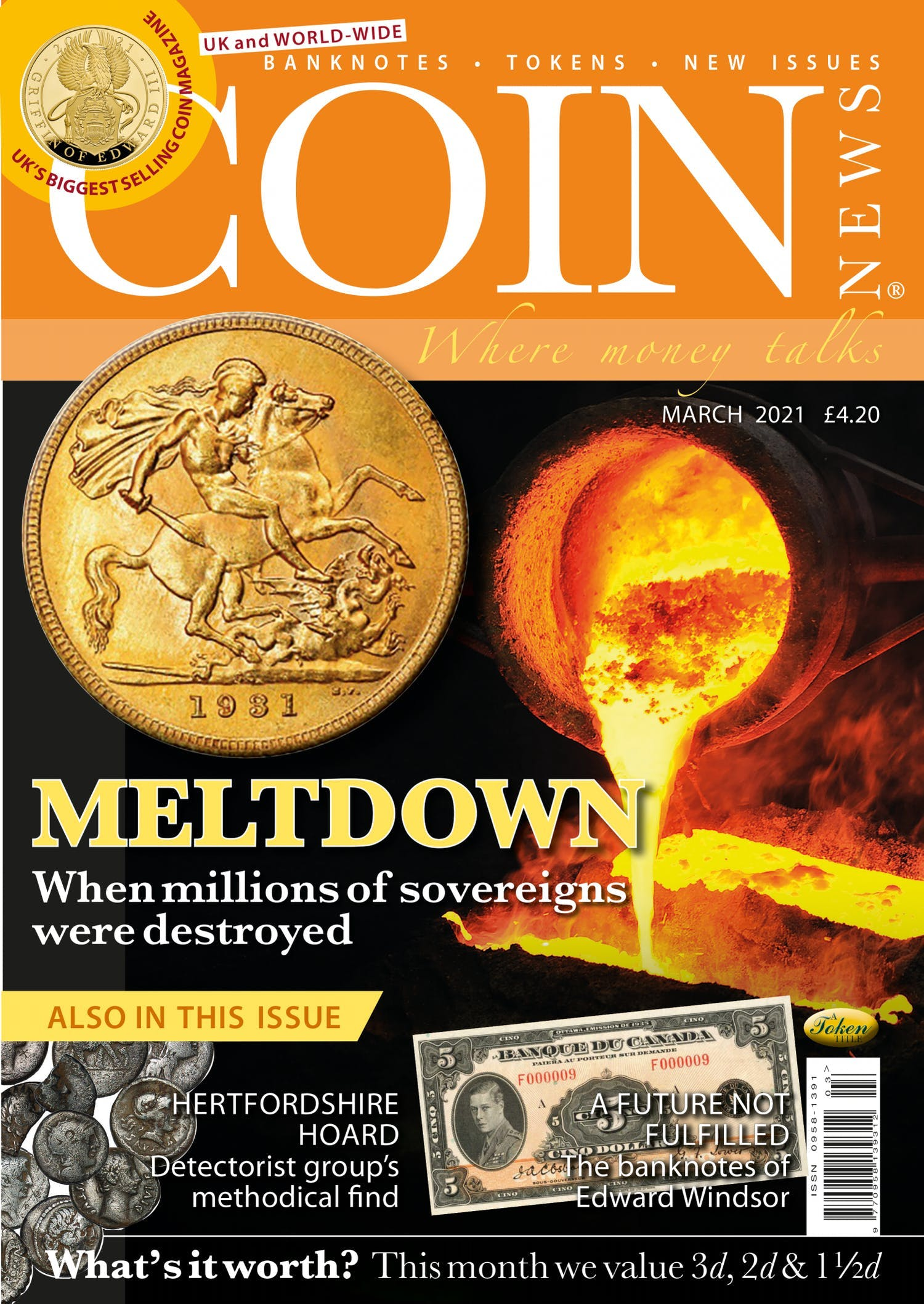 The front cover of Coin News, March 2021 - Volume 58, Number 3